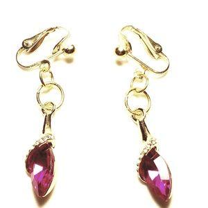 "1.5"" Gold Pink Crystal Clipon Earrings"